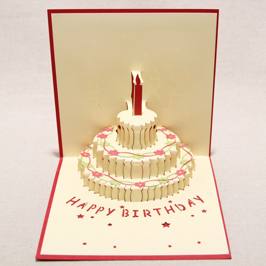 Birthday Cake Red Pop Up Card