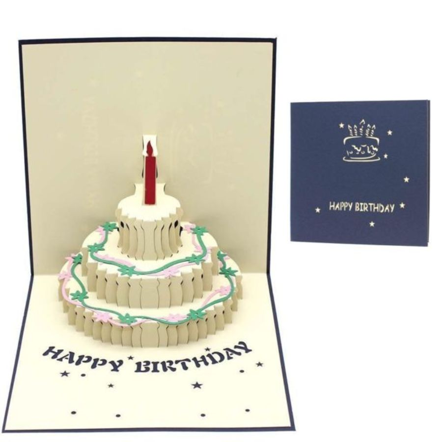 Birthday Blue Cake Pop Up Card