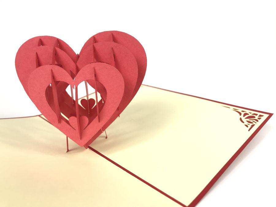 Love Heart Hollow 2 Red Pop Up Card