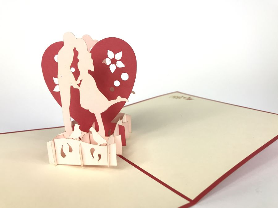 Big Heart Wedding Couple Pop Up Card