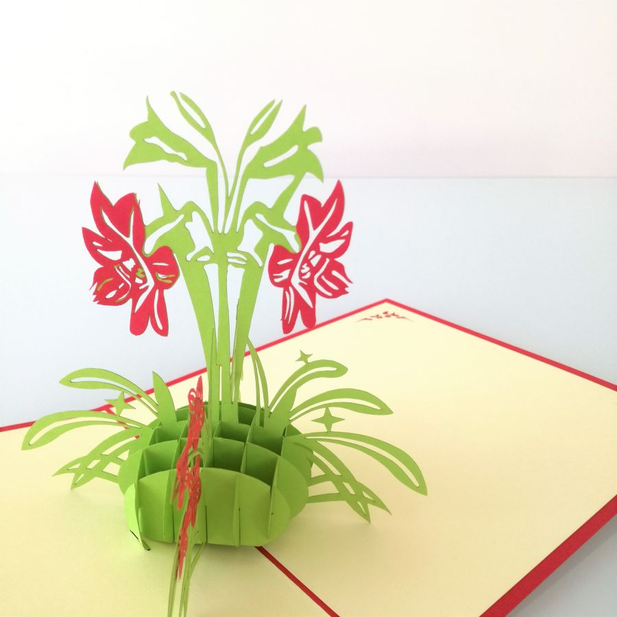 Red Daffodils Pop Up Card