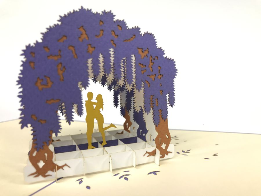 Couple Under Willow Arch Pop Up Card