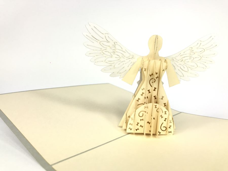 Silver Angel Pop Up Card