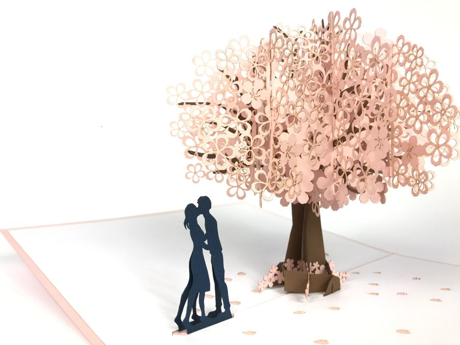 Couple Under Blossom Tree Pop Up Card