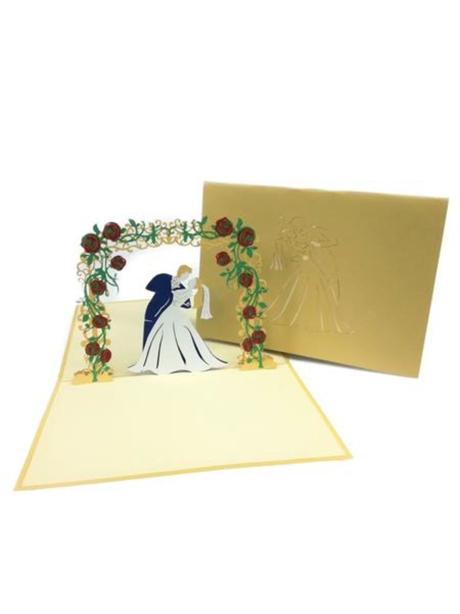 Floral Arch Wedding Gold Pop Up Card