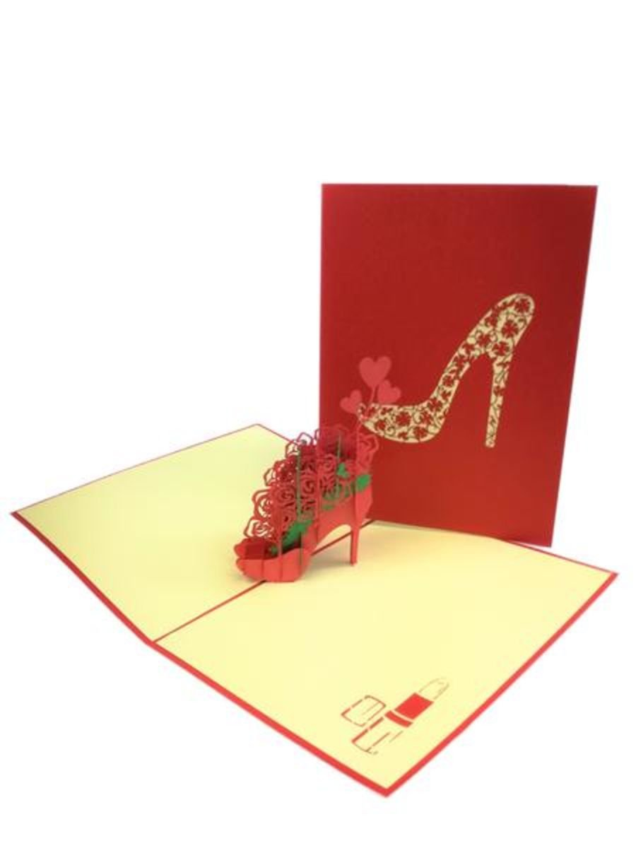 High Heel With Flowers Pop Up Card