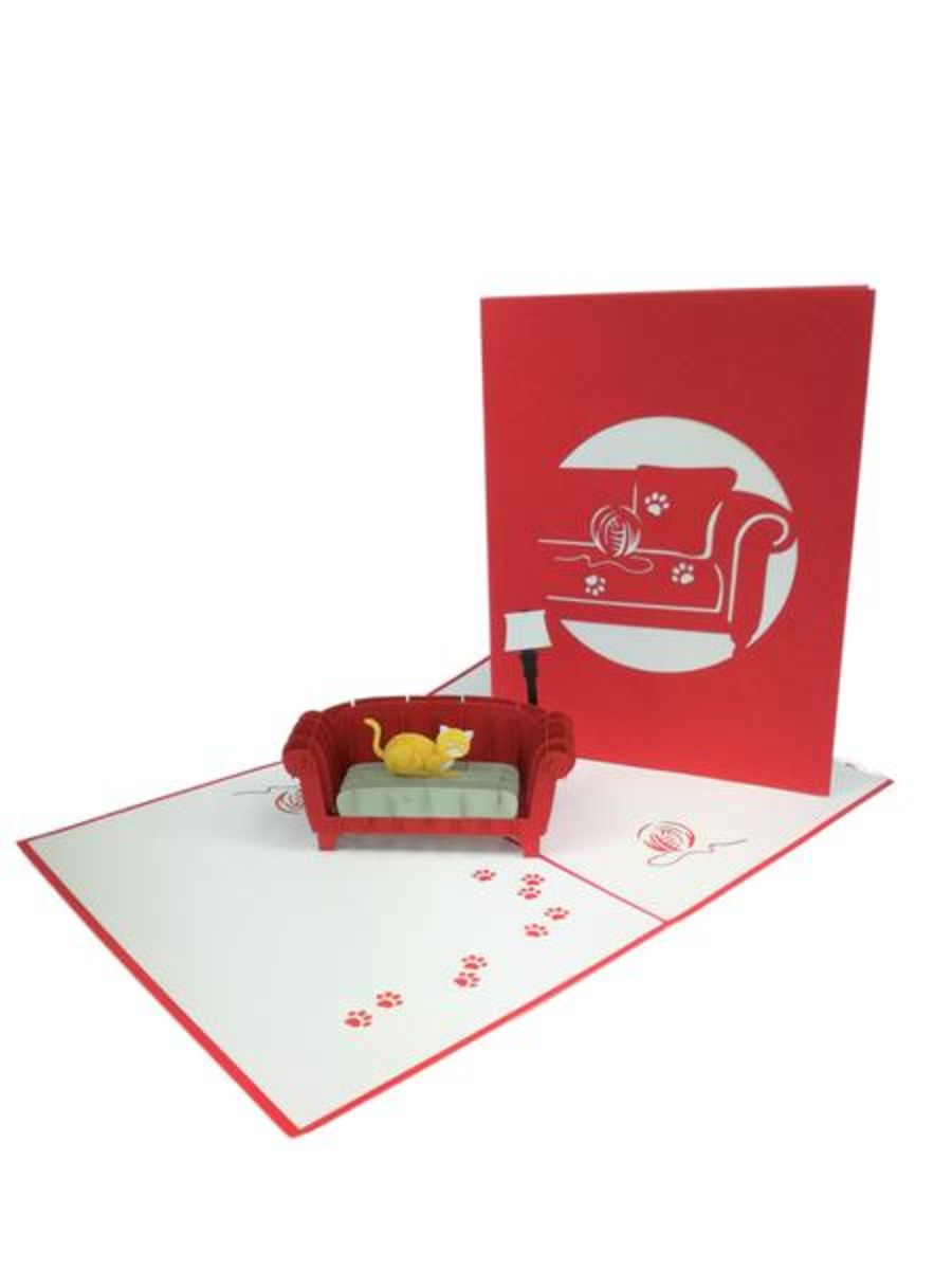 Cat On Red Sofa Pop Up Card