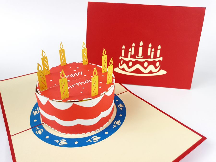 Round Happy Birthday Cake Red Pop Up Card