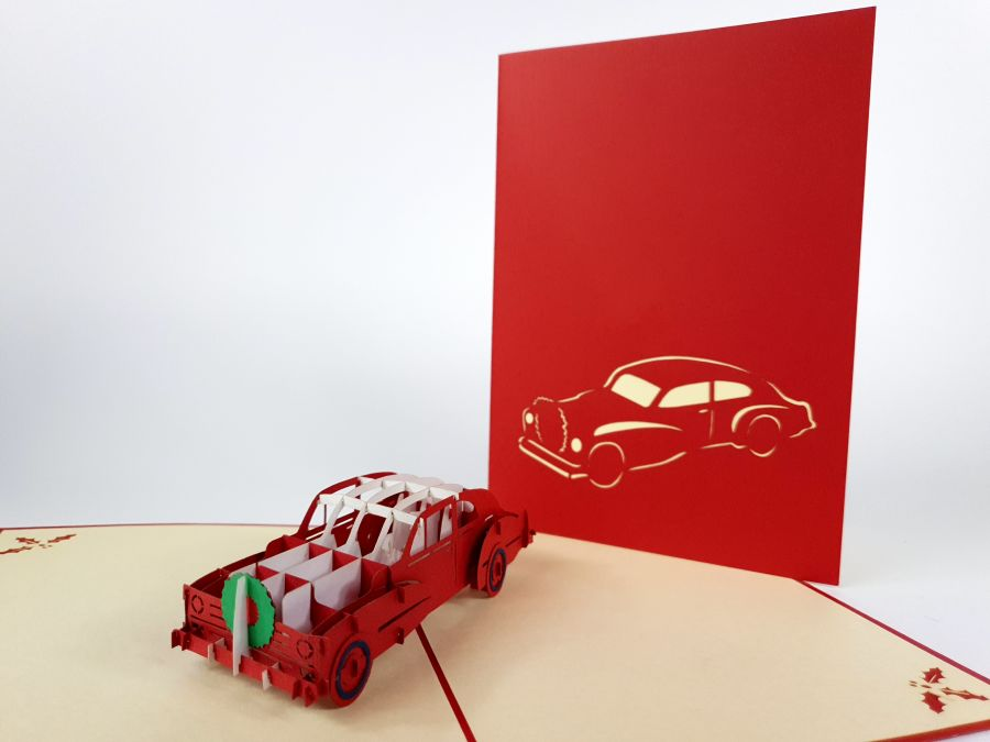 Red Caddy Car Pop Up Card