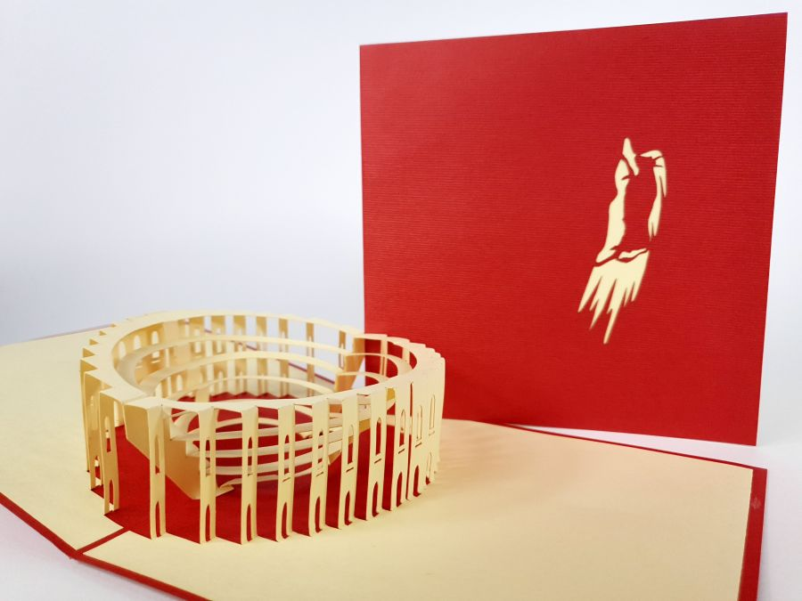 Red Coloseum Pop Up Card