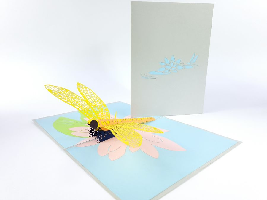 Dragonfly Yellow Version Pop Up Cards