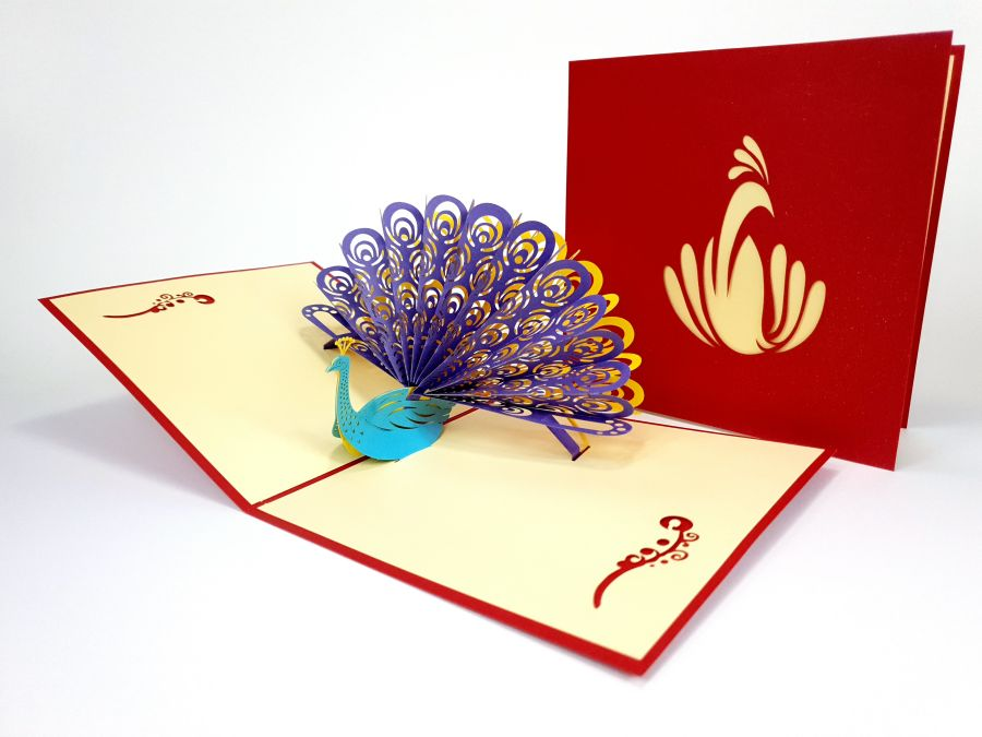 Colorful Peacock Pop Up Card