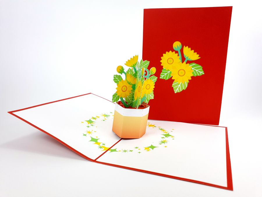 Sunflower pot Flower Pop Up Card