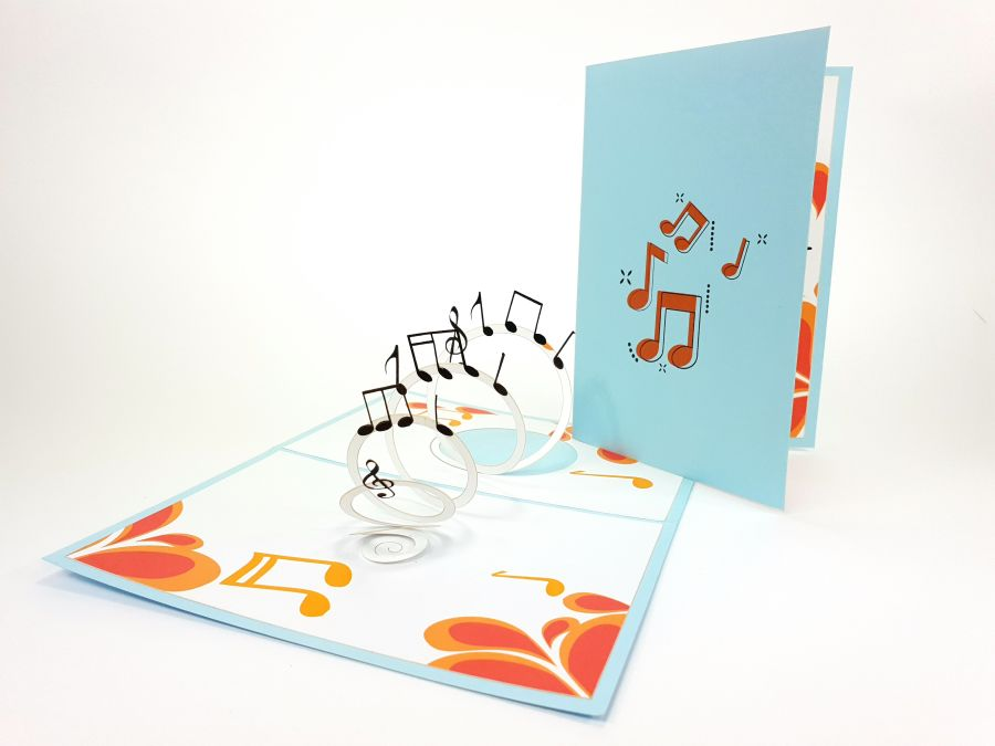 Color Music Note Pop Up Card