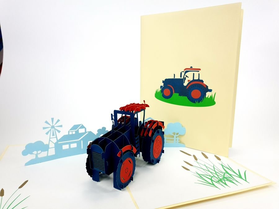 Color Farm Tractor Pop Up Card