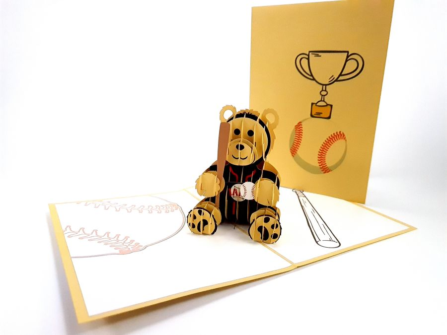 Baseball Bear Pop Up Card