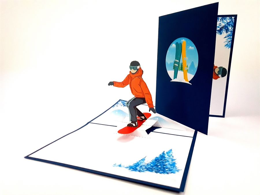 Snowboard Pop Up Card