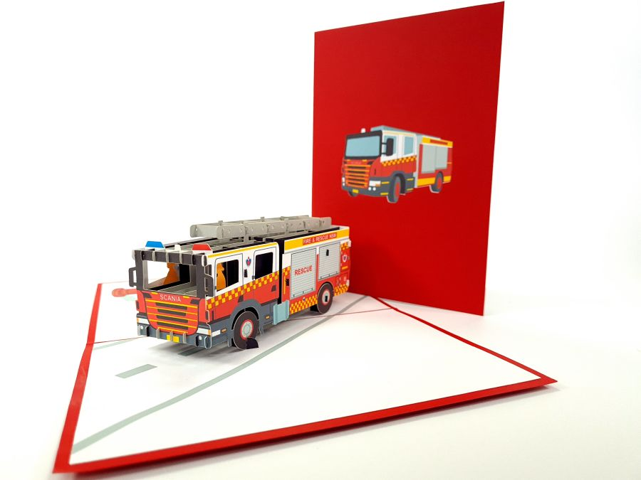 Color Fire Truck Pop Up Card