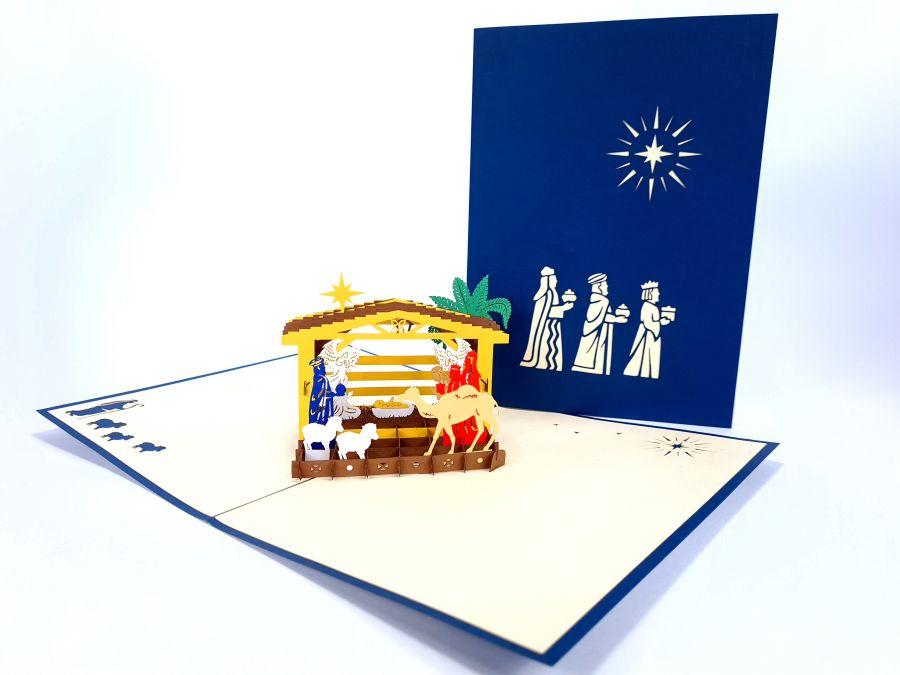 Nativity Navy Pop Up Card