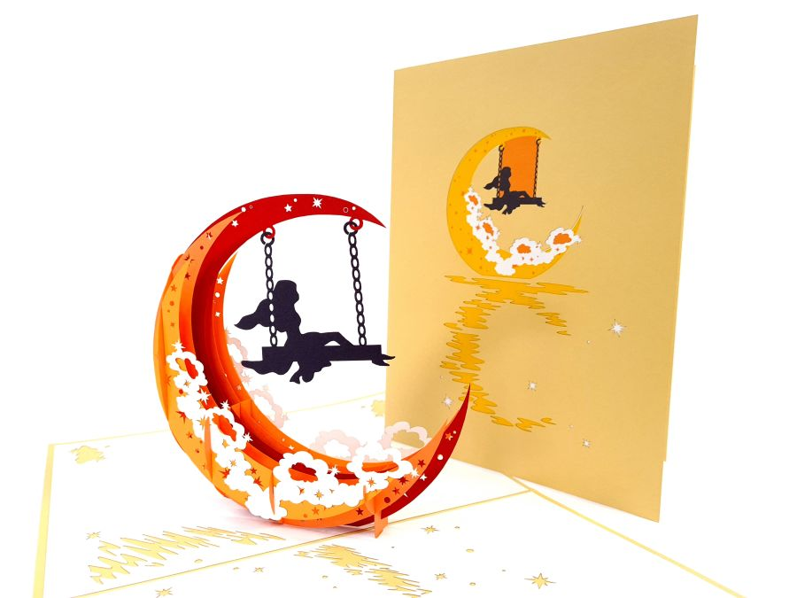 Girl On Moon Swing Pop Up Card