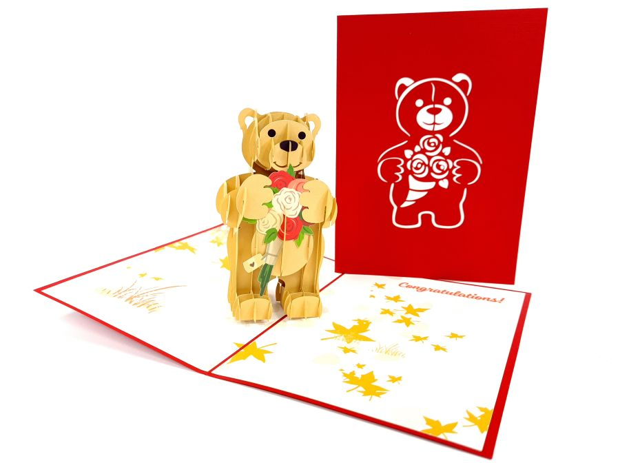 Tedy Bear with Roses Pop Up Card