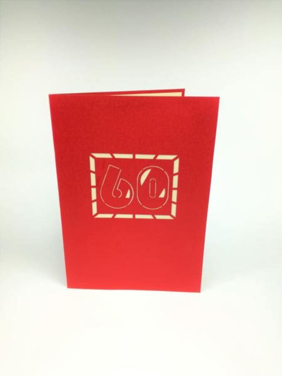 60th Birthday Pop Up Card Size 18 X 13 CmFolded Color Red Default
