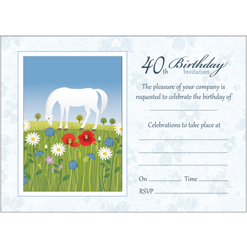 10 Birthday Invitations - 40th