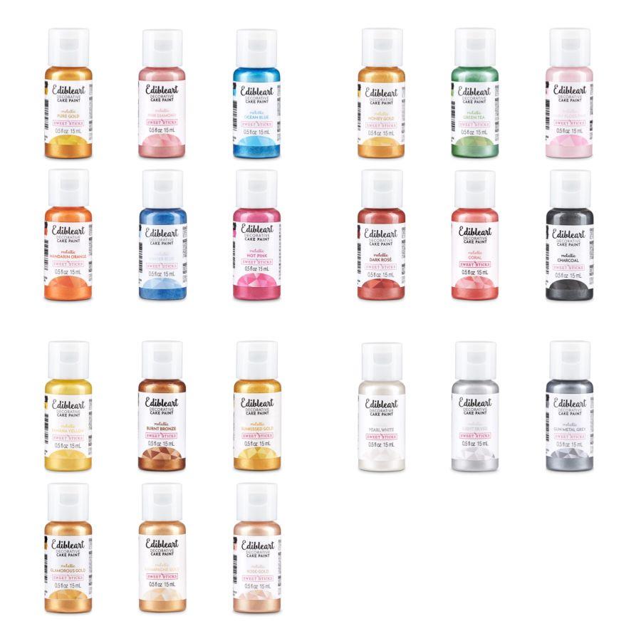 Sweet Sticks all 22 Metallic Colours - 15 ml bottle Edible Art Decorative Paint