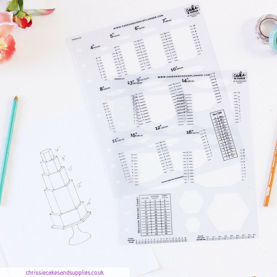 Hexagon Cake and Cookie Planner Sketching Templates v 2.0 - Avalon Cakes