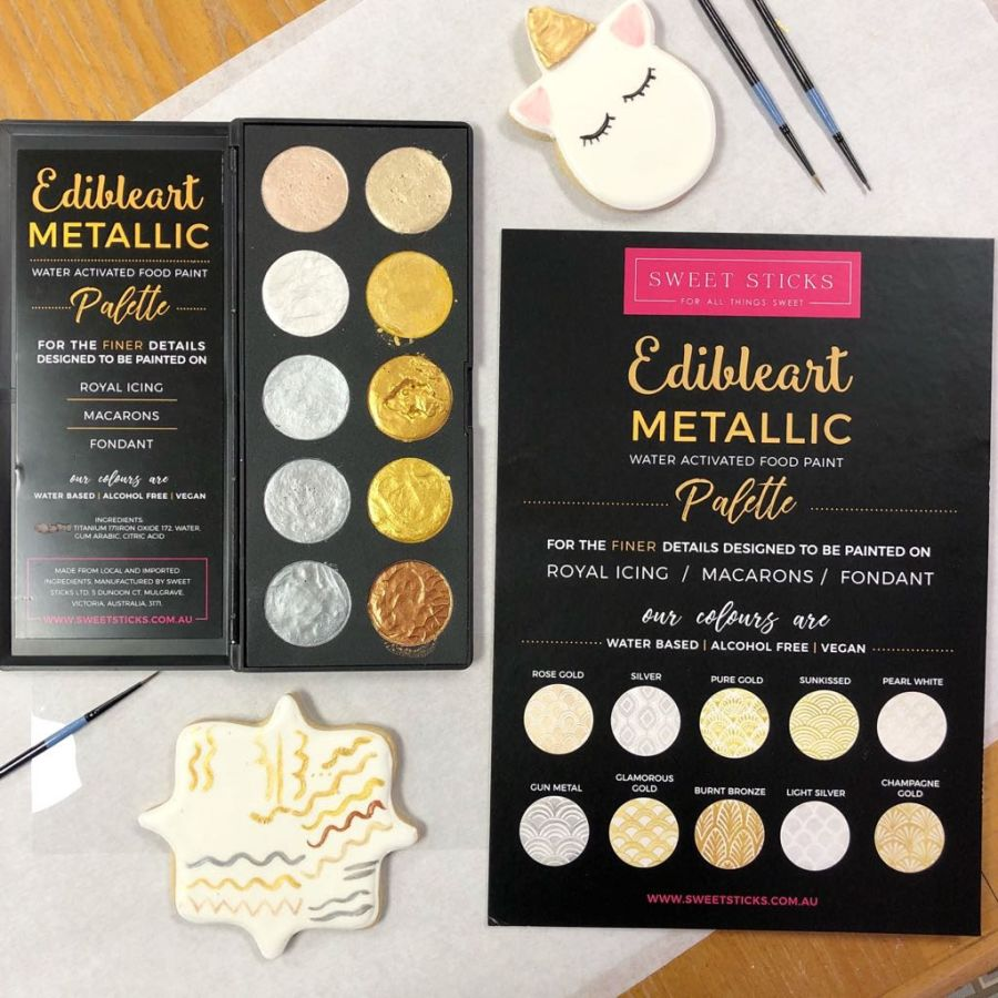 Edible Art Metallic Water Activated Food Paint Palette