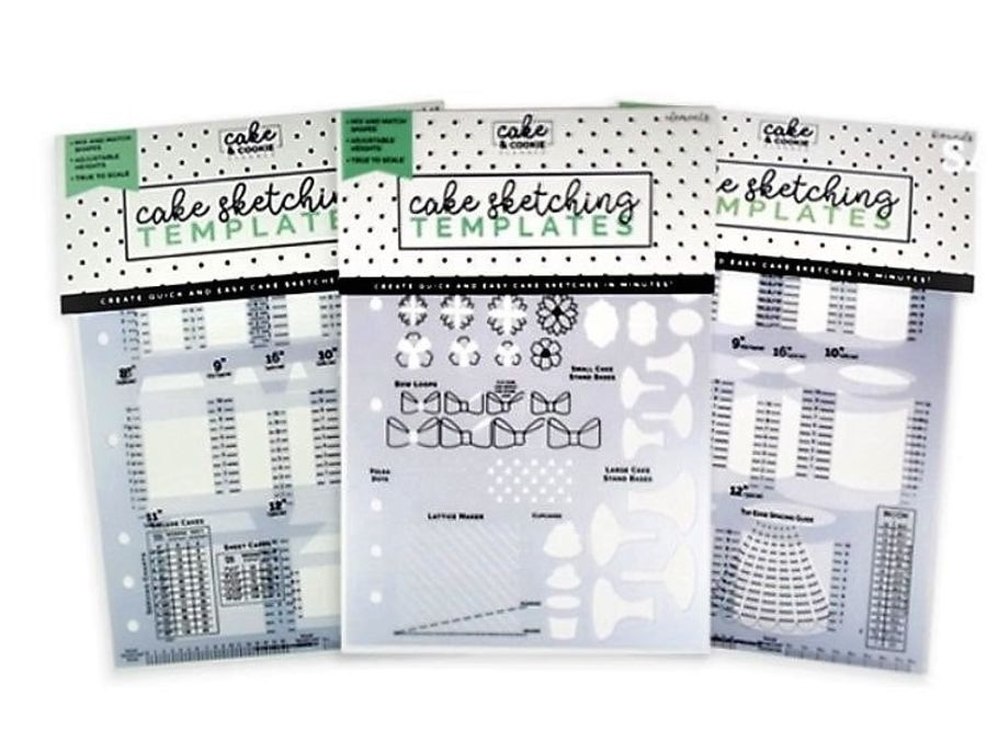 CAKE & COOKIE PLANNER Cake Sketching Templates - Set Of 3 - -Avalon Cakes