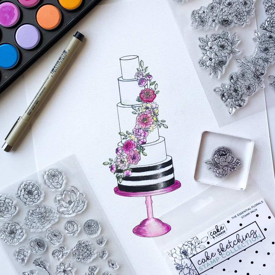 Floral Essentials Cake Sketching Stamps - Cake and Cookie Planner