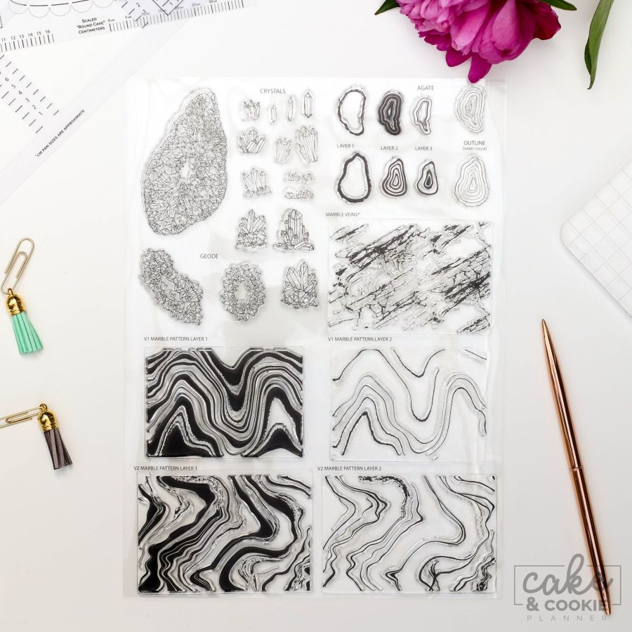 Geode, Minerals and Marble Set Cake Sketching Stamps - Cake and Cookie Planner