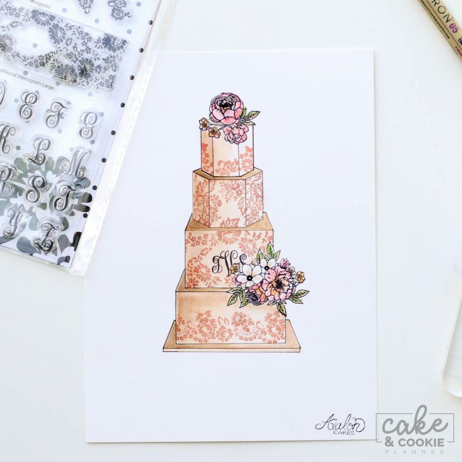Lace & Monograms Stamp - Cake and Cookie Planner