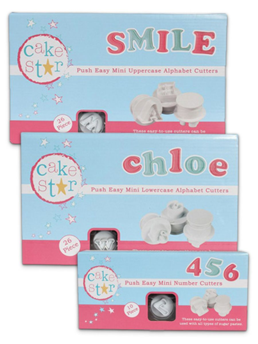 CAKE STAR PUSH EASY CUTTERS - MINI ALPHABET AND NUMBERS SET