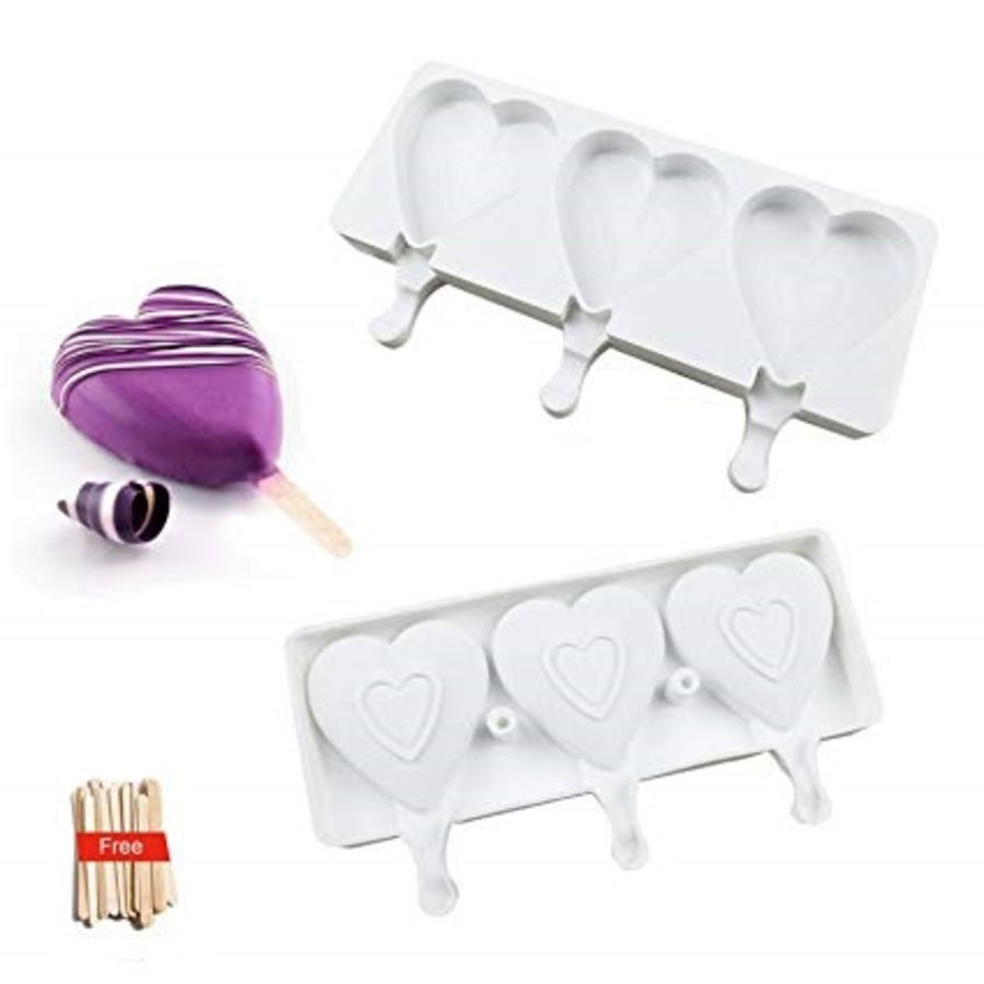 3 Cavity Heart Cakesicle Popsicle Ice cream Silicone mould