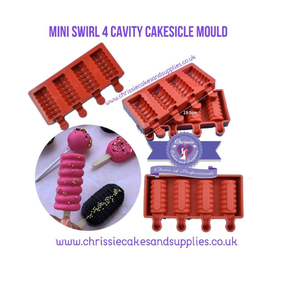 4 Cavity Mini Swirl Cakesicle Mould