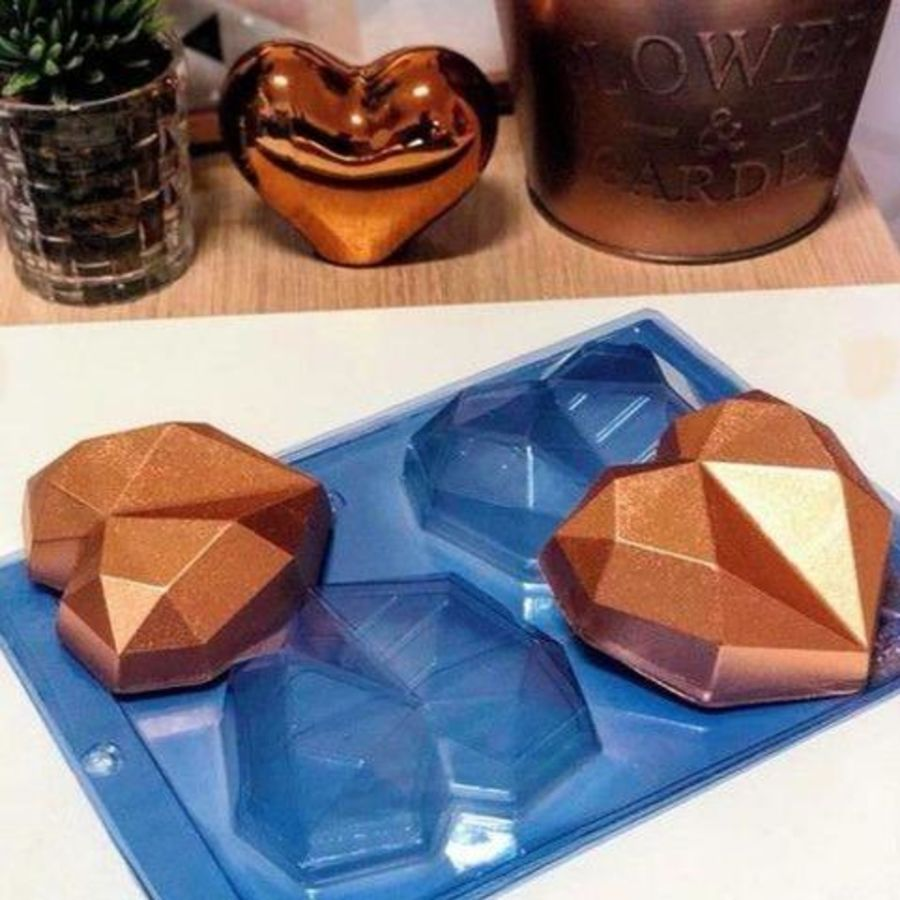 2 cavity Diamond Heart Chocolate mould - PFM 01 BWB 9837
