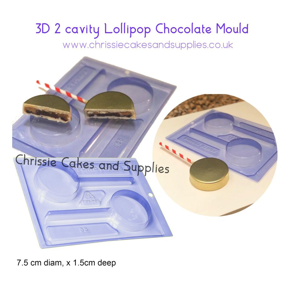 3D 2 cavity Lollipop Chocolate Mould - PFM 55