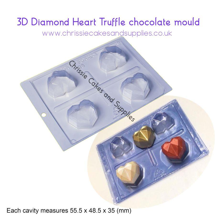 4 cavity Diamond Heart Truffle mould PFM 03