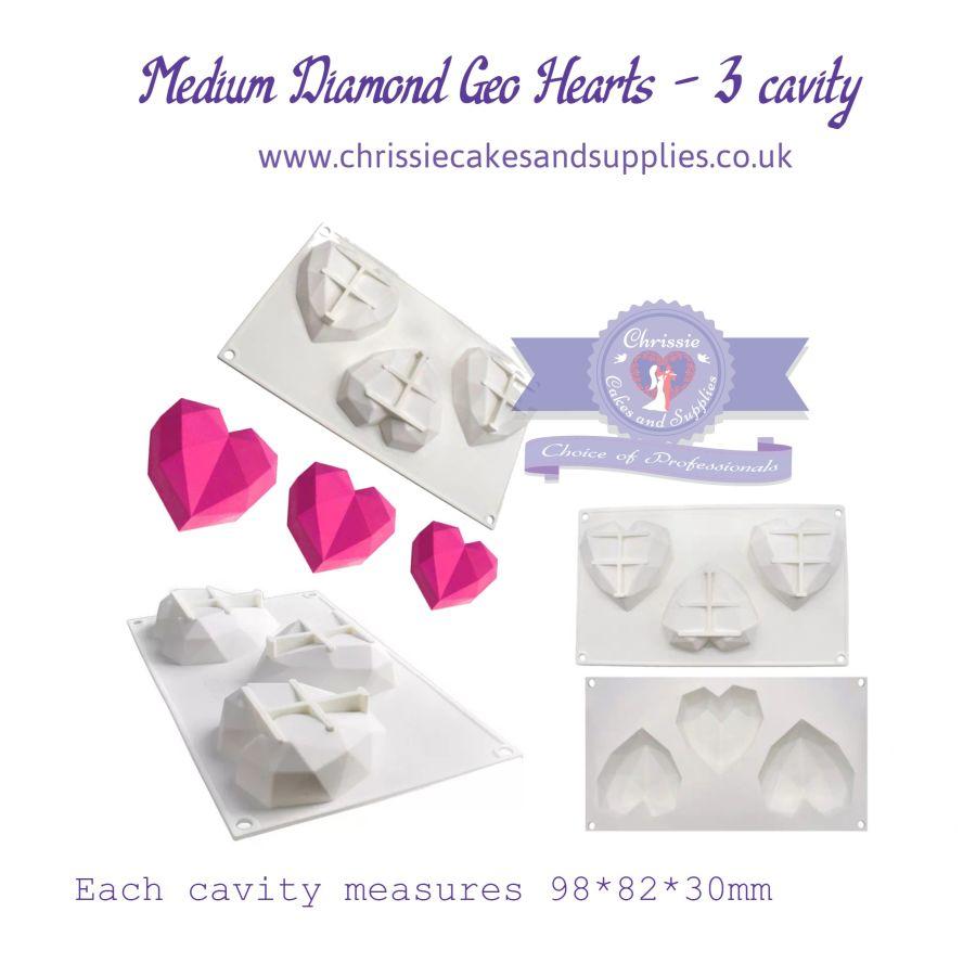 Medium Geometric Silicone Heart Mould - 3 Cavity