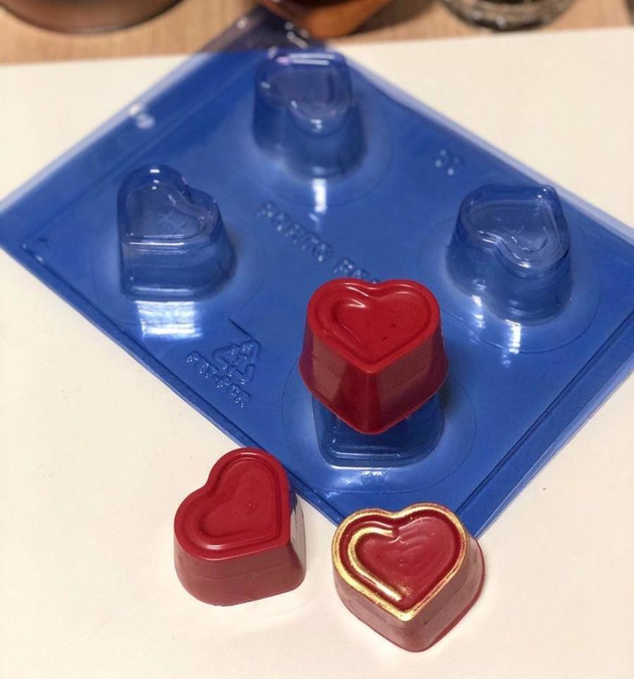 Detailed Heart Truffle chocolate 3 part mould Deep - PFM 09