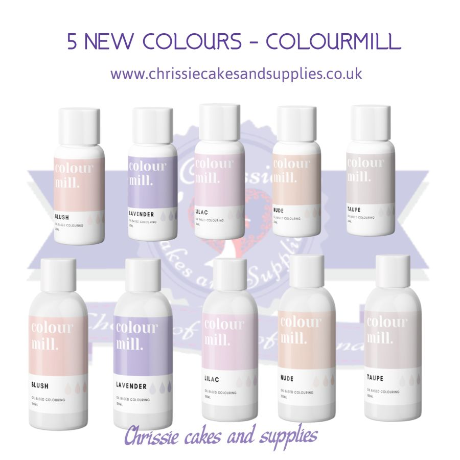 5 NEW COLOURS oil based concentrated icing colouring 20ml /100ml Colourmill SET