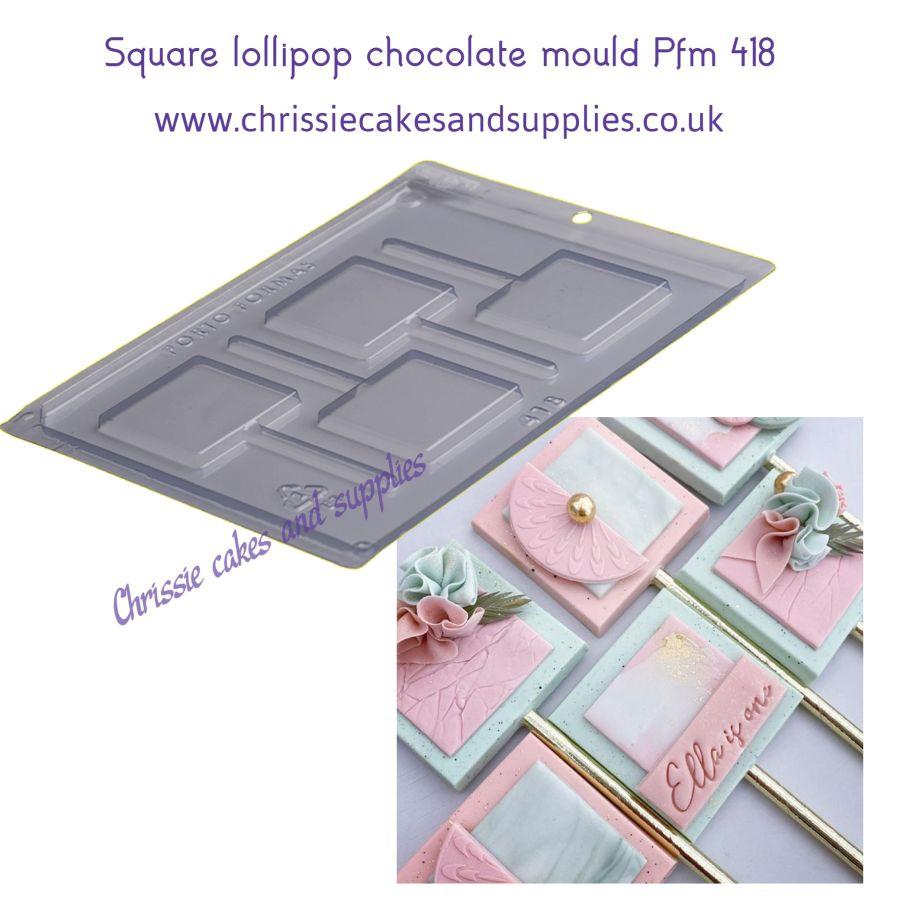 Square lollipop chocolate mould Pfm 418 BWB9825