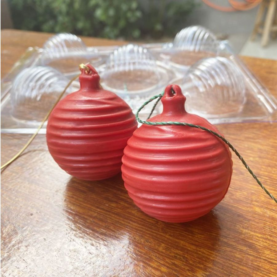 Scratched Christmas Ball Bauble 3 part chocolate mould  - BWB10051