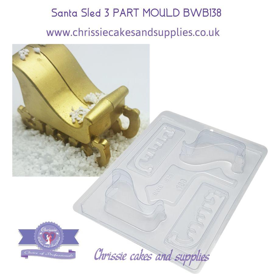 Santa Sled 3 part chocolate mould - BWB 138