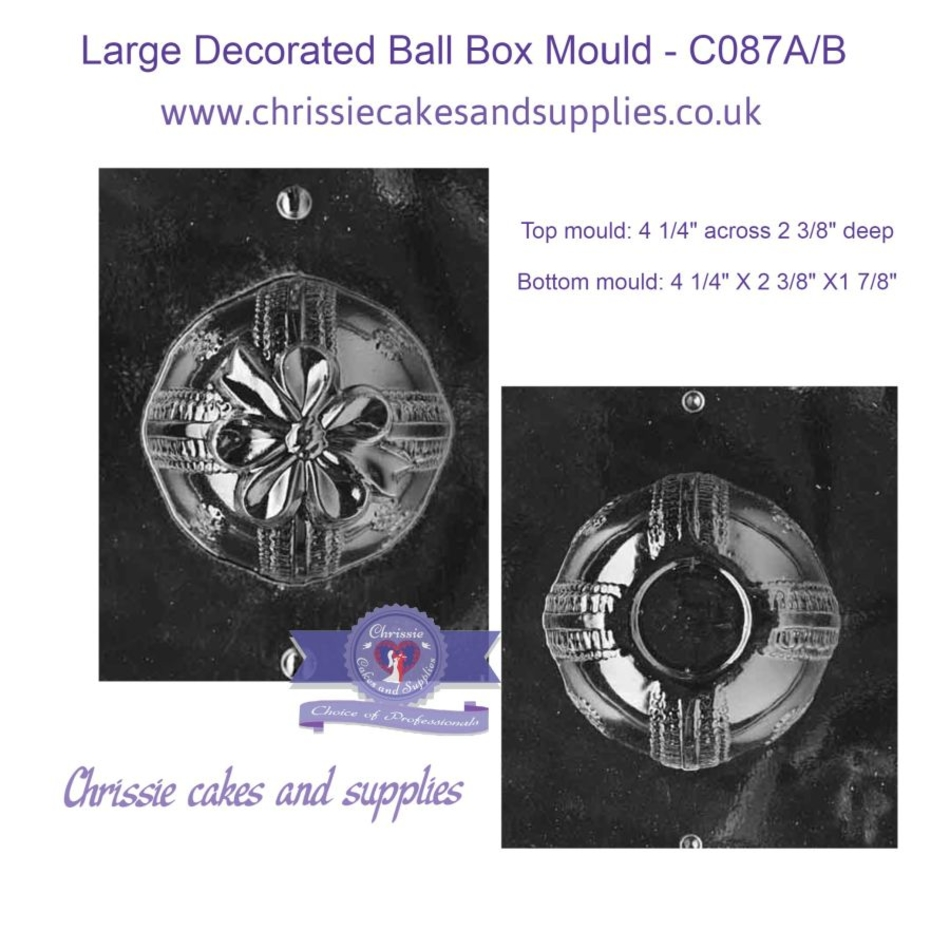 Large Decorated Ball Box Mould - C087A/B