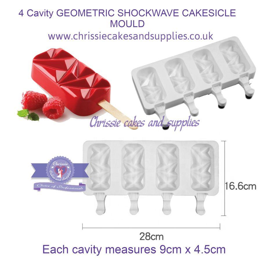4 Cavity GEOMETRIC SHOCKWAVE CAKESICLE MOULD