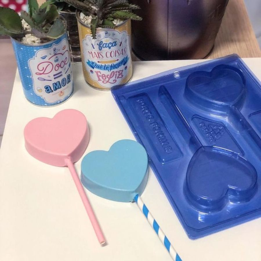 Heart Cakesicle Lollipop 2 cavity 3 part mould PFM 64