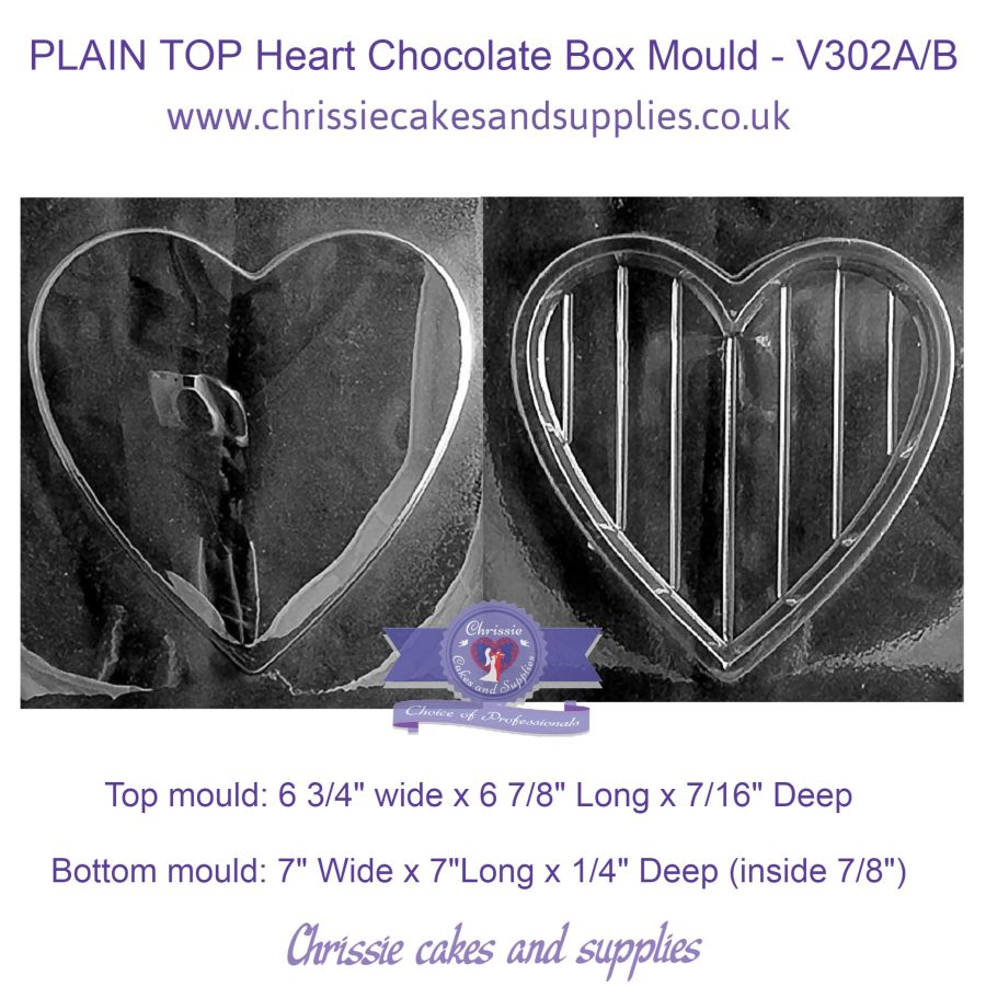 PLAIN TOP Heart Chocolate Box Mould - V302A/B